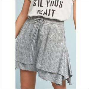 Anthro DOLAN Left Coast Silver Shimmer Skirt L NWT
